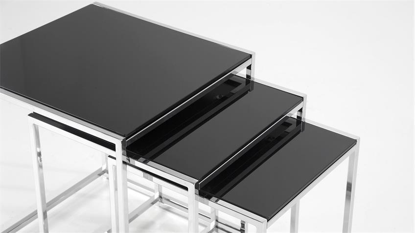 Satztisch FLORIN 3er Set Glas schwarz Chrom Beistelltisch