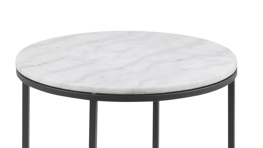 Beistelltisch FLORIN weißer Marmor schwarz Ø 55 cm
