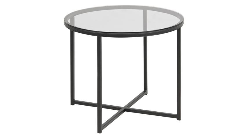 Beistelltisch FLORIN rauchiges Glas schwarz Puristisch