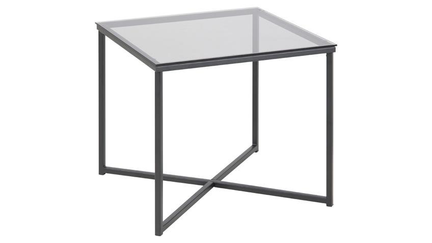 Beistelltisch FLORIN rauchiges Glas schwarz quadratisch