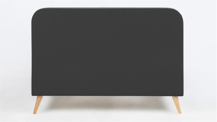 Bett AGNES Polster Stoff dunkelgrau 140x200 cm