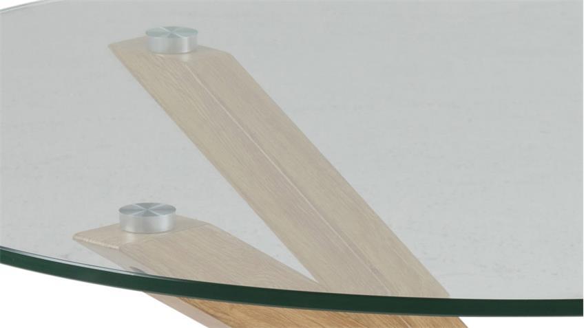 Couchtisch HEAVEN Glasplatte Gestell Eiche Optik Ø 82 cm