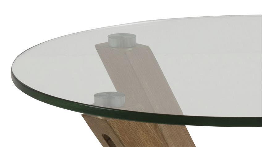 Beistelltisch HEAVEN Glasplatte Gestell Eiche Optik Ø 50 cm