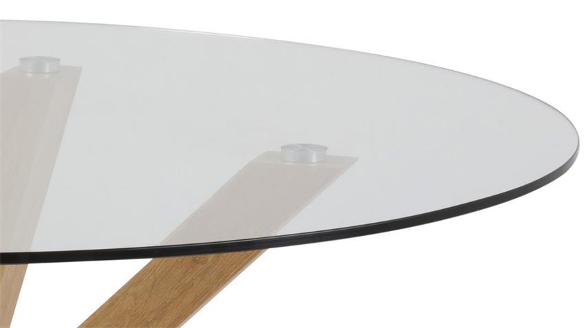 Esstisch HEAVEN Glasplatte Gestell Eiche Look Ø 119 cm