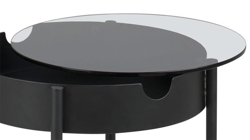 Beistelltisch TIPTON Glasplatte Metall mattschwarz Ø 45 cm