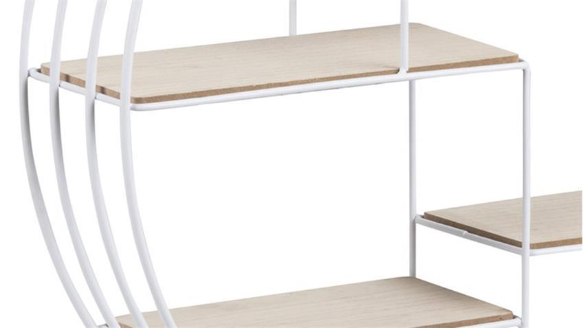 Wandregal DARKENBERG weiß Ablagen aus Paulownia Holz