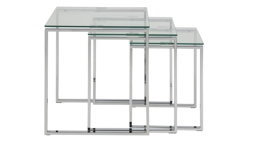 Satztisch KATRINE 3er Set Glas schwarz Chrom Beistelltisch
