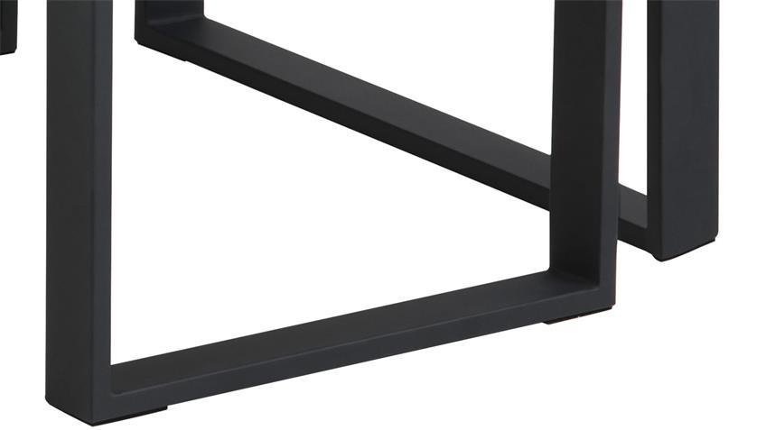 Couchtisch Set KATRINE 2-tlg Marmor weiß Metall schwarz
