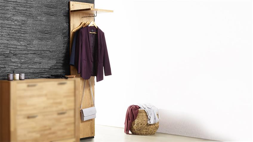 Garderobenpaneel ROUVEN Eiche teilmassiv Kleiderstange