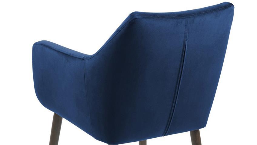 Esszimmerstuhl NORA Samt dunkelblau dunkelbraun Eiche