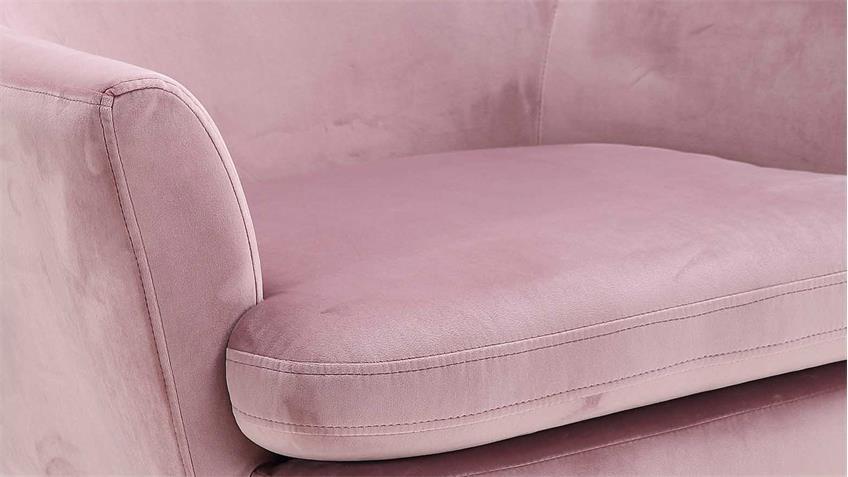 Loungestuhl CHISA altrosa Samtstoff rosé Metall schwarz