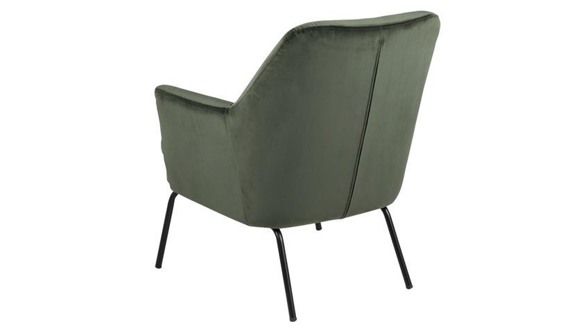 Loungestuhl CHISA waldgrün Samtstoff Metall schwarz