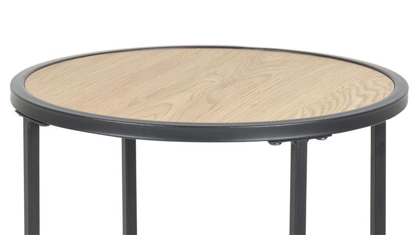 Beistelltisch SEAFORD Ø 40 cm Wildeiche-Look Metall rund