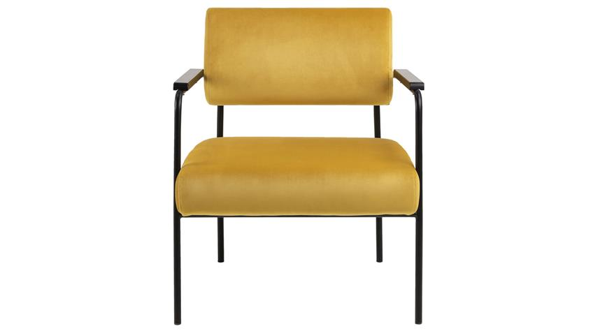 Loungestuhl CLOE gelb Samt Metall schwarz Esszimmerstuhl
