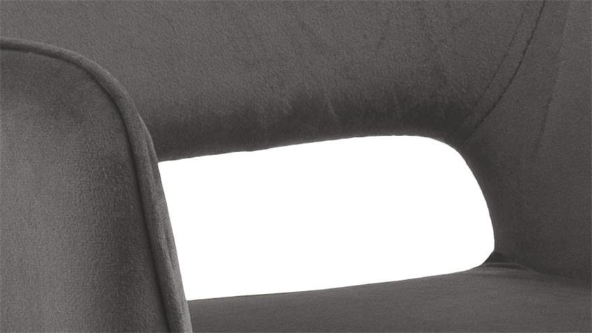 Esszimmerstuhl RANJA 2er Set dunkelgrau Metall schwarz