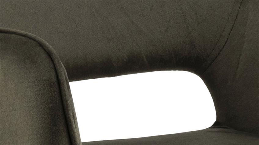 Esszimmerstuhl RANJA 2er Set olivgrün Stoff Metall schwarz