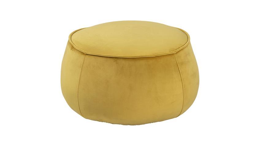 Sitzhocker Pouf Mie Sitzkissen mit Samt in gelb 60 cm rund