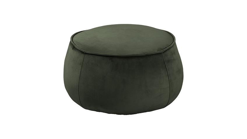 Sitzhocker Pouf Mie Sitzkissen mit Samt rund dunkelgrün 60 cm