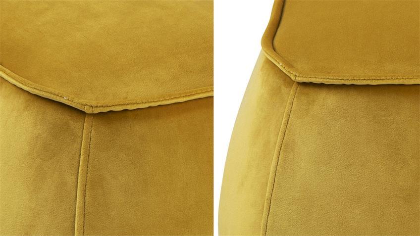 Sitzhocker Pouf Mie Sitzkissen mit Samt gelb 60x34 cm groß