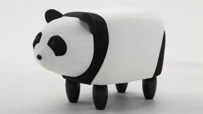 Tierhocker Panda schwarz weiß Kinderhocker Holz natur