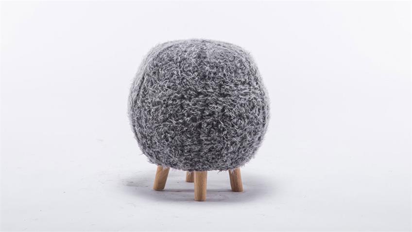 Sitzhocker Ball grau Kinderhocker Schminkhocker Holz natur