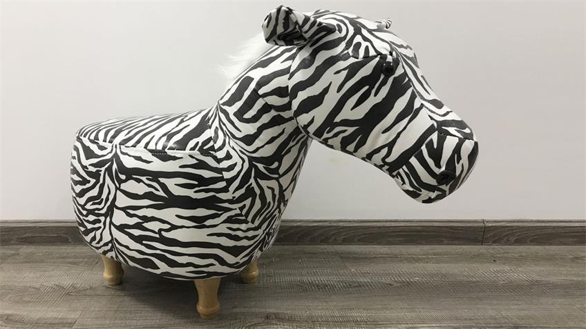 Tierhocker Zebra weiß schwarz Holz natur Kinderhocker