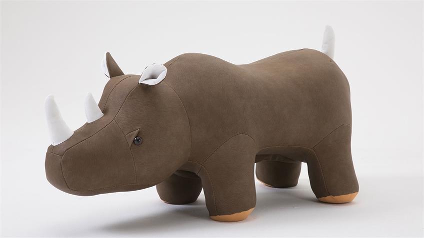 Tierhocker Nashorn khaki Kinderhocker gepolstert Rhino