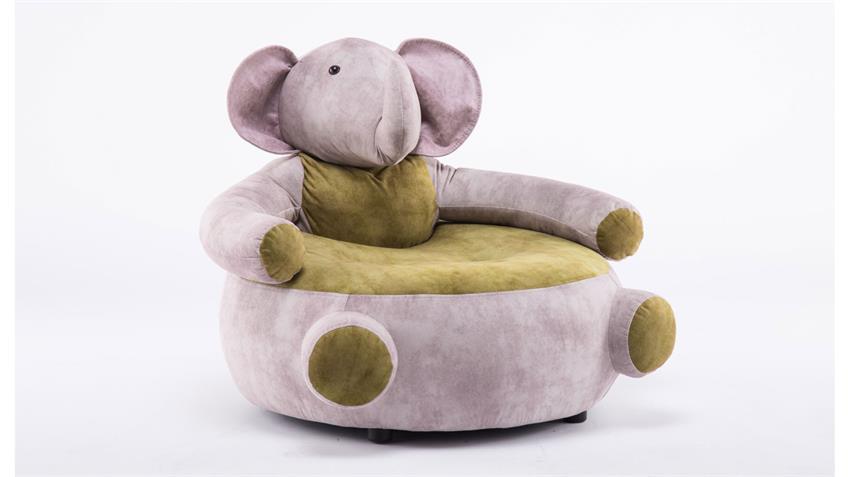 Kindersessel Tiersessel Elefant grau olive Kindersofa Deko