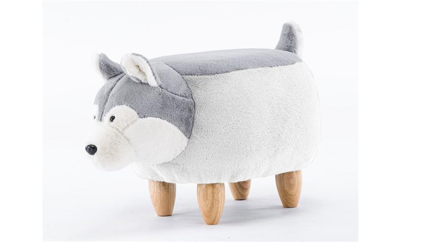 Tierhocker Husky grau Hund Kinderhocker Stoff Holz natur