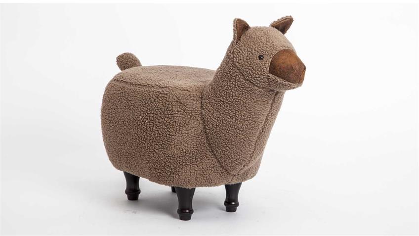 Tierhocker Kinderhocker Lama braun Alpaka Holz schwarz