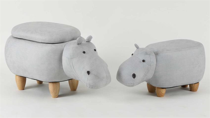 Tierhocker Kinderhocker Nilpferd Hippo weiß Holz mit Staufach