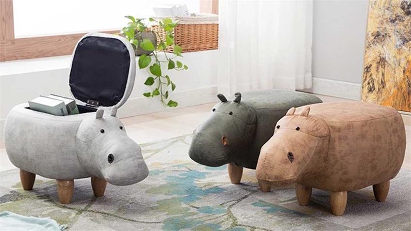 Tierhocker Kinderhocker Nilpferd Hippo grün Holz mit Staufach
