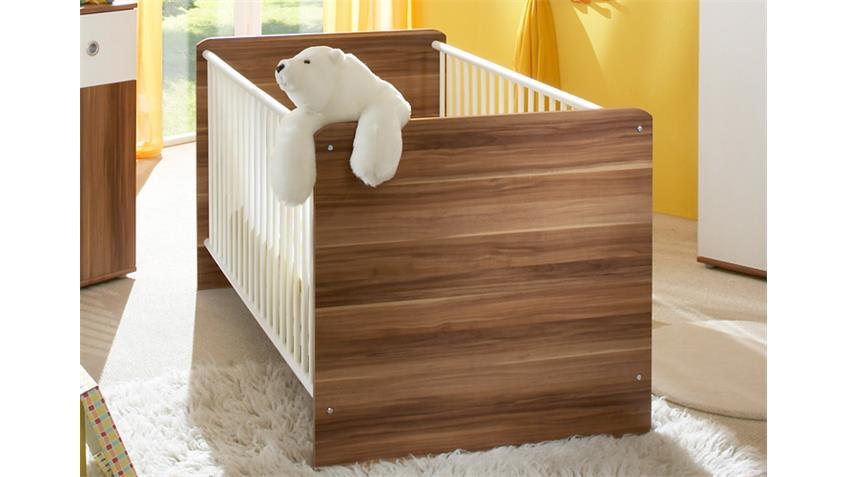 Babybett WIKI Babyzimmer Gitterbett Bett walnuss und weiß