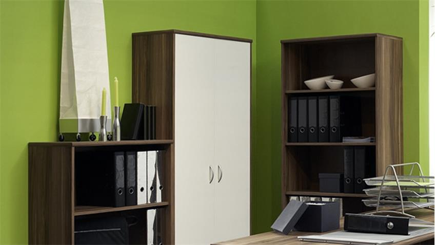 b ro office compact komplettset in walnuss und wei 5 teilig. Black Bedroom Furniture Sets. Home Design Ideas