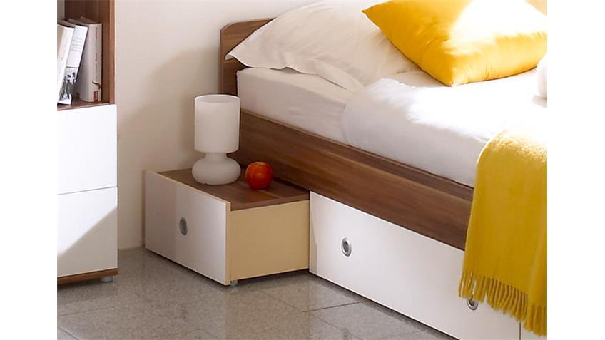 jugendbett wiki in walnuss und wei mit schubk sten. Black Bedroom Furniture Sets. Home Design Ideas