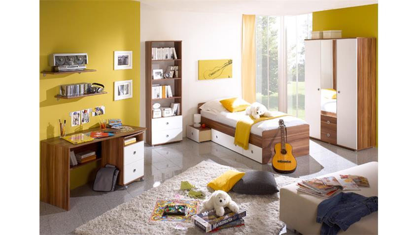 Kinderbett WIKI mit Schubkästen in weiß und walnuss Farben