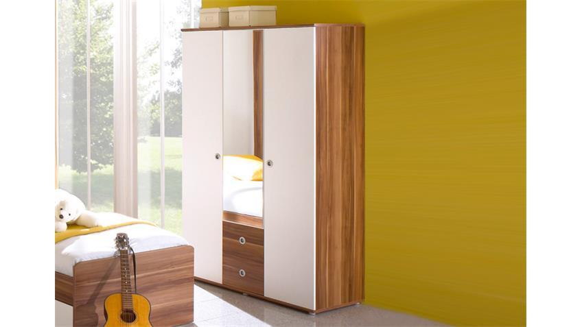 kleiderschrank wiki 3 t riger schrank in walnuss und wei. Black Bedroom Furniture Sets. Home Design Ideas