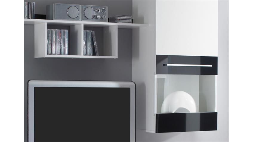 Wohnwand ABANO Anbauwand in weiß und schwarz glänzend