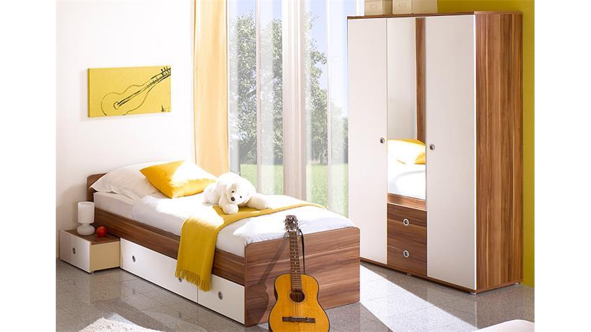 Jugendzimmer WIKI Kinderzimmer 7-teilig Walnuss und weiß