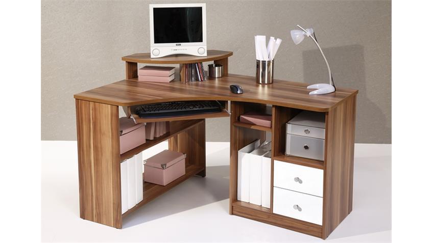 Eckschreibtisch TANGA Computer Schreibtisch in Walnuss