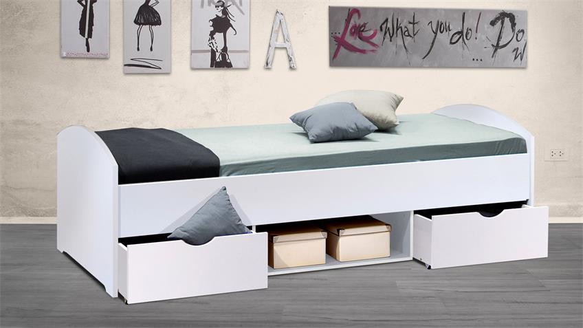 Bett NEMO Kinderbett Liege Kinderzimmerbett weiß 90x200