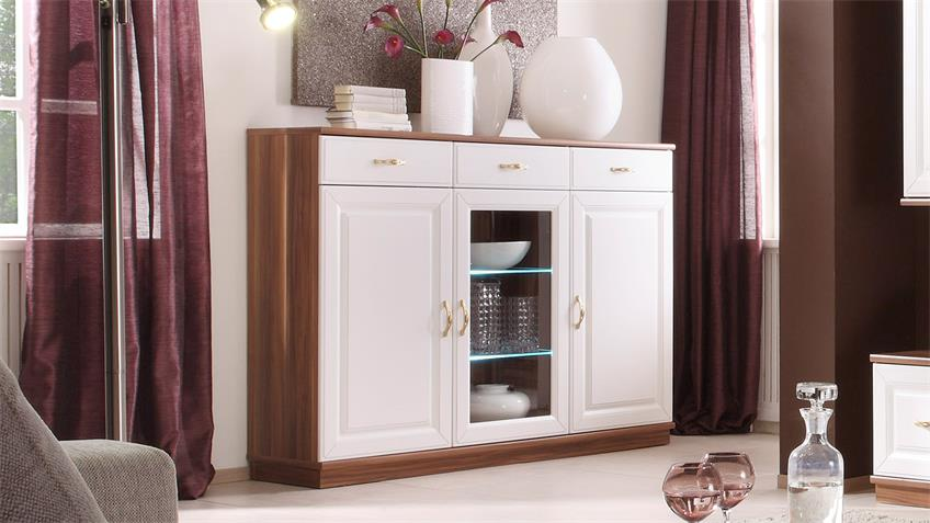 Highboard ELEGANT Sideboard in Weiß und Walnuss inkl. LED