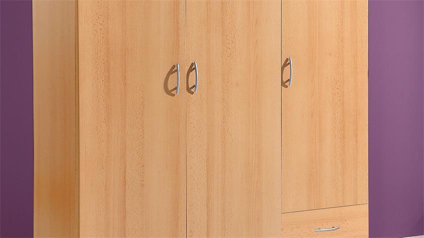 kleiderschrank base 3 schrank in buche 3 t rig 120 cm breit. Black Bedroom Furniture Sets. Home Design Ideas