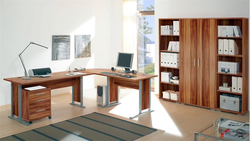 Winkelschreibtisch Büro OFFICE LINE Walnuss mit Rollcontainer