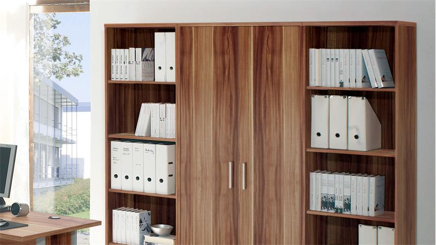 Regalwand OFFICE LINE Aktenschrank mit 2 Regalen Walnuss