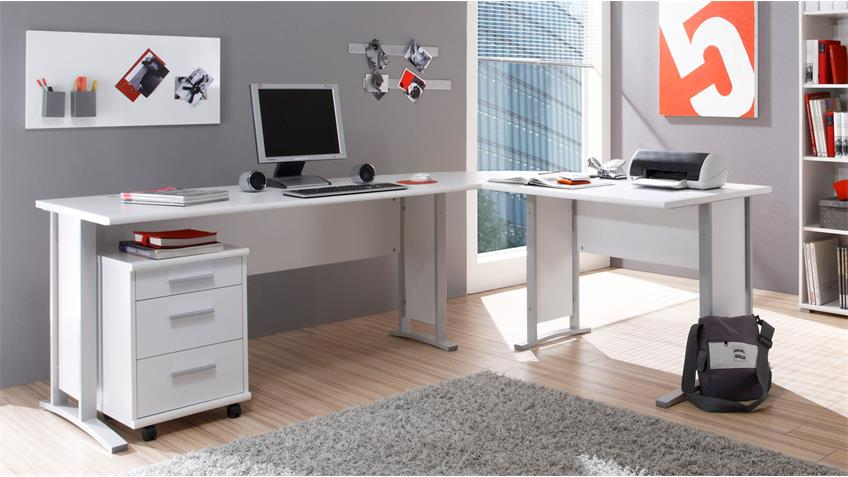 b rom bel office line arbeitszimmer in wei schreibtisch aktenregal. Black Bedroom Furniture Sets. Home Design Ideas