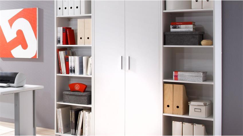 Büromöbel OFFICE LINE Arbeitszimmer in weiß Schreibtisch Aktenregal