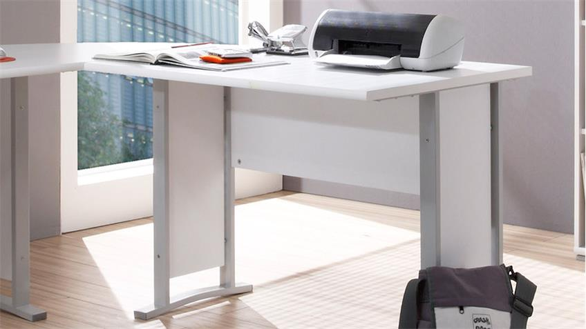 Winkelschreibtisch Office Line in Weiß Bürotisch mit Rollcontainer