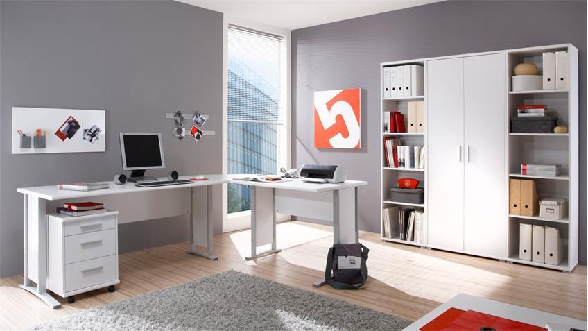 Winkelschreibtisch Büro OFFICE LINE in weiß mit Rollcontainer