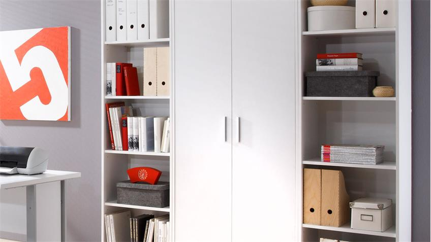 Regalwand OFFICE LINE Aktenschrank in weiß mit 2 Regalen